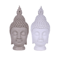1pcs Sandstone Resin Buddha Head Buddhism Creative Statue Crafts Southeast Asian style Buddist Figurine Ornament Home Decoration