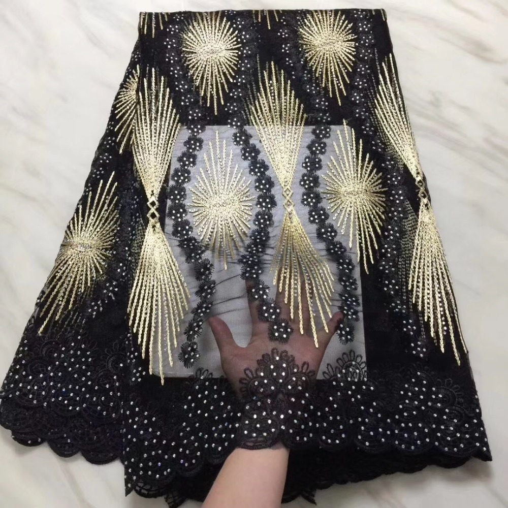 2019 African Tulle Lace Fabric High High Quality Net Swiss Voile Lace Black French Embroidery Nigeria Lace Fabric Gold