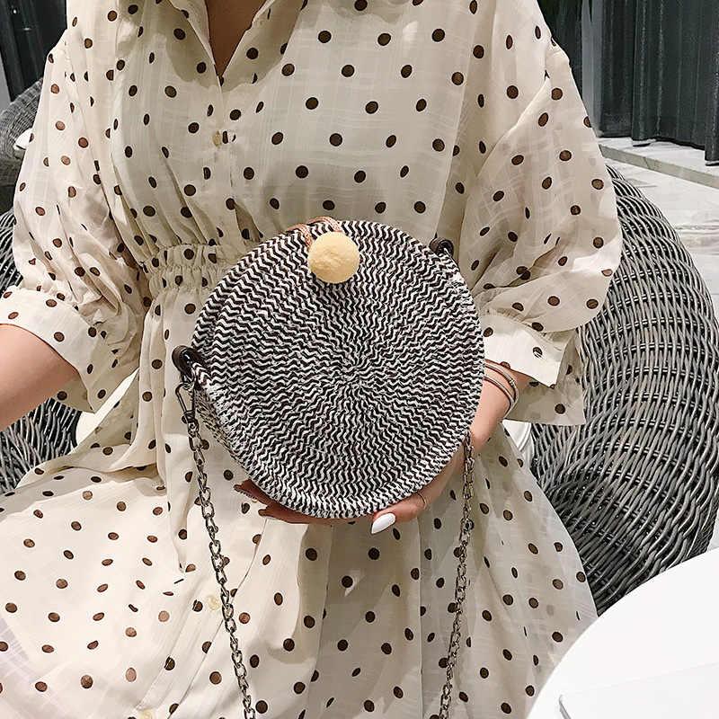 2019 Novas Mulheres Mensageiro Saco De Palha Rodada Marca Designer Flap Saco Corpo Cruz Saco de Ombro Da Forma Bolsa Da Senhora de Cabelo Pirulito Bola sac