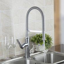 Твердый латунный Кухня Раковина кран горячей и холодной смесителя Одной ручкой тянуть вниз поворотный воды на выходе кран 97055