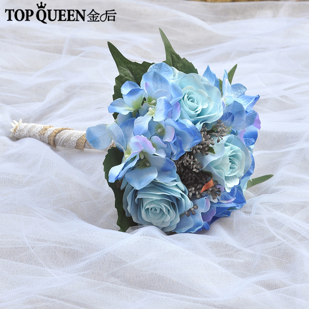 Topqueen F16 Bridal Holding Flowers Wedding Bouquet Blue Rose