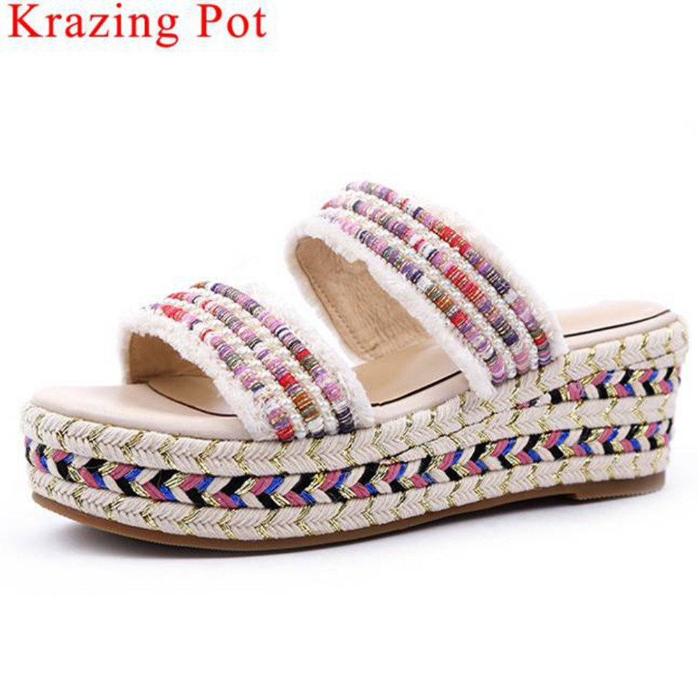 Krazing Pot mixed colors Ethnic style wedges high bottom platform peep round toe European design mules summer party sandals L20