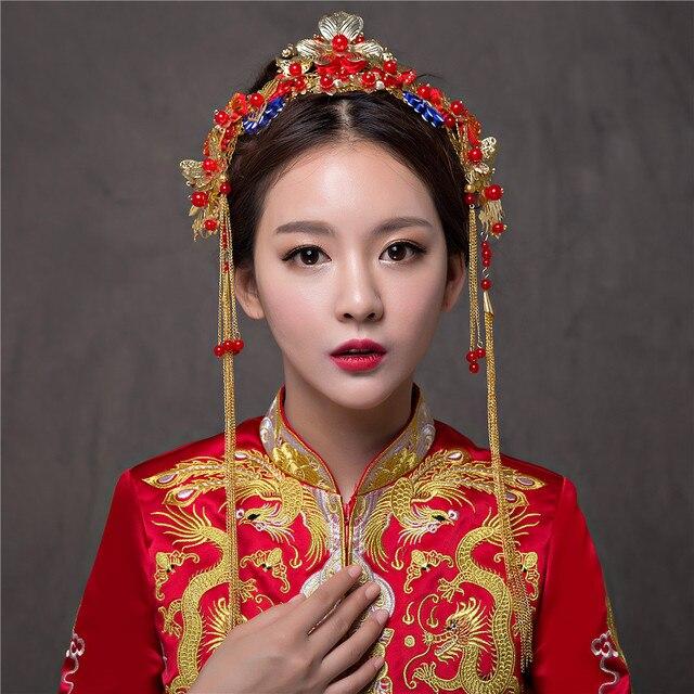 Nazionale cinese Wedding Hairwear Nuziale Tradizionale Bianco Perla Sposa  Capelli Diademi Accessori Per Capelli Donne Nappa