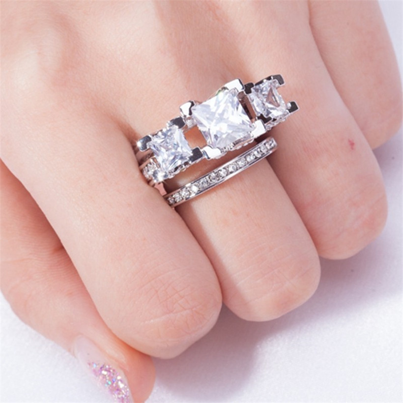 Image 5 - Lady's 925 Silver & Black gold Square Pink Simulated Diamond Paved Three stone Wedding Band Ring Sets Jewelry for Women-in Rings from Jewelry & Accessories
