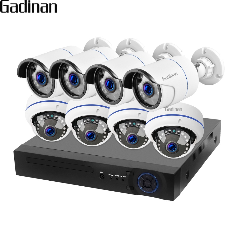 GADINAN 8CH 1080P NVR Real POE CCTV System Vandalproof 100m Distance Indoor Outdoor IP Camera Video