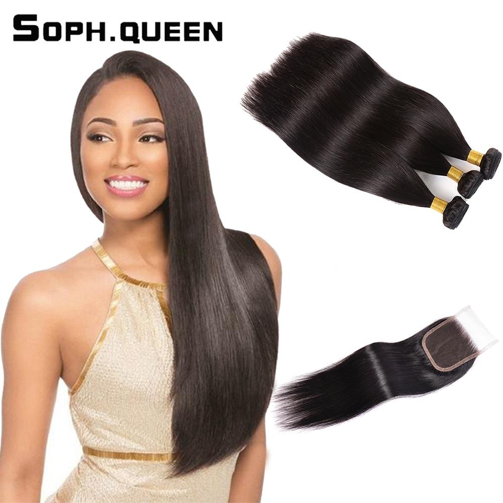 Soph queen brasileño recto 3 paquetes con cierre Remy cabello humano - Cabello humano (negro)