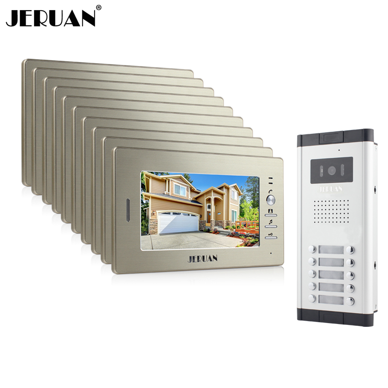 JERUAN New Apartment Intercom System 10 Monitors Wired 7 Color Video Door Phone intercom System for 10 houses FREE SHIPPING brand new apartment intercom entry system 2 monitors wired 7 color video door phone intercom system for 2 house free shipping