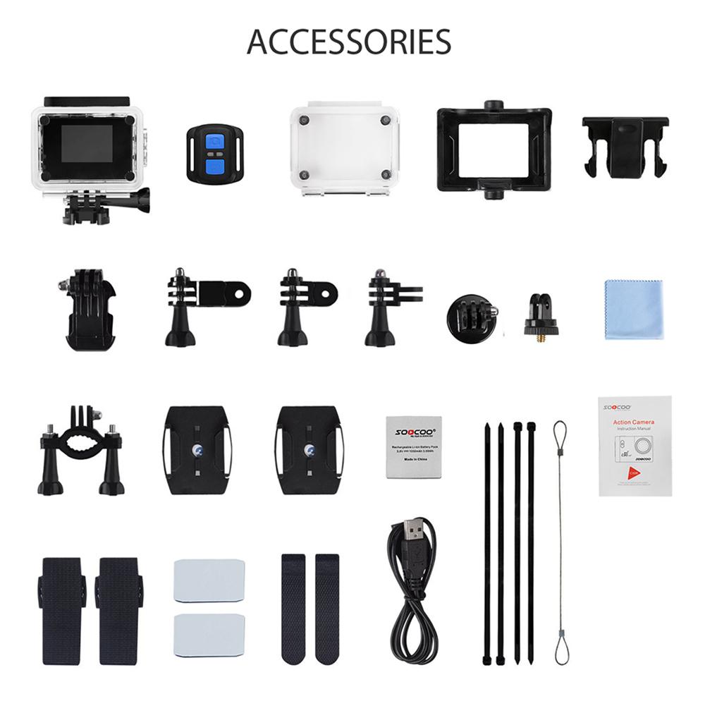Sports camera 4K SOOCOO C30 Wifi Gyro Accessories