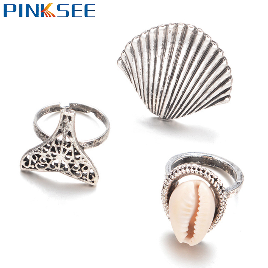 Women Ladies Vintage Bohemia Style Beach Shell Conch Ring Jewelry Punk Unique Silver Color Knuckle Midi Rings 3pcs/Sets