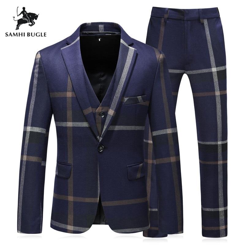 Luxury Brands Men's Suits Blazers Stripe Slim Fit Groom Wedding Prom Blue Suit Male Tuxedos Business Formal Plus Size (S-5XL)