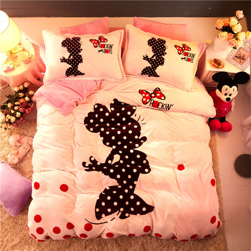 Pink Flannel fleece Minnie Mouse comforter bedding sets for kids queen size quilt covers twin 3d full bed linens coverlet Girls