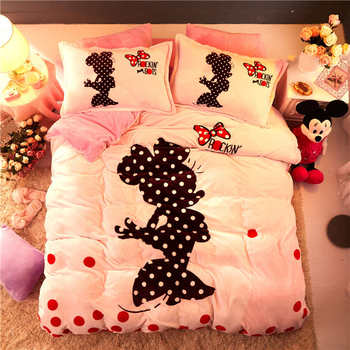 Rosa Flanell Fleece Minnie Maus Tröster Bettwäsche-sets Für Kinder Queen-size-quilt Abdeckungen Twin 3d Doppelbett Bettwäsche Bettdecke Mädchen