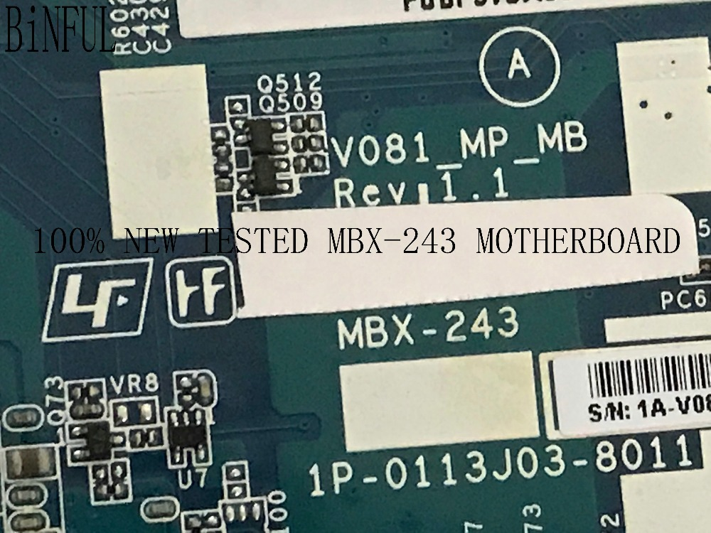 BiNFUL STOCK ,100% NEW , REV : 1.1 V081_MP_MB MBX-243 MAINBORD MOTHERBOARD FOR SONY VPCF23 NOTEBOOK ,  (no Fit Rev : 1.2)