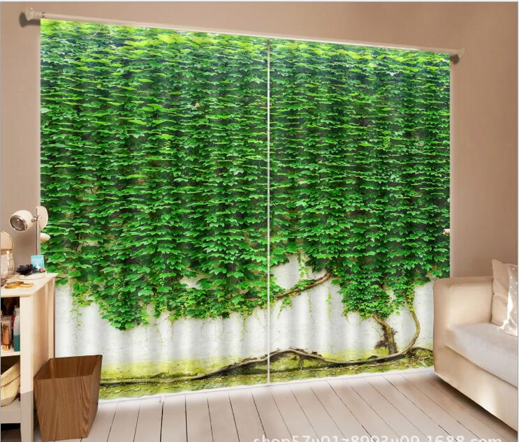 US $11.4 43% OFF|Green Wall grass 3D Window Curtains Living Room wedding  bedroom Hotel decorate Cortina Drapes Rideaux Customized size pillowcase-in  ...