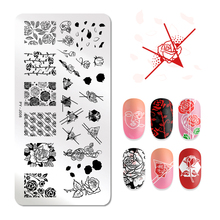 PICT YOU Rose Flowers Patterns Nail Stamping Plates Rectangle Image Geometric Templates Art Stencil Plate Stamp Tool