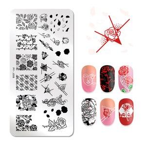 Image 5 - PICT YOU ongles estampage plaques Rose fleurs motifs Rectangle plaques Image géométrique timbre modèles Nail Art pochoir plaque