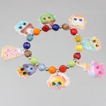 10pcs/lot 2016 Hot Sale Shopkins Bracelets 8MM Colourful Bead Strand Bracelets For Children Gifts Free Shipping