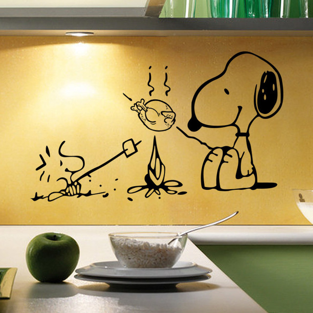 Cute Dog Barbecue Removable Vinyl Kitchen Decor Wall Stickers Home ...