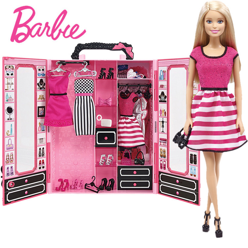 Original Barbie Doll Toys Fashion Skirt Closet Baby Toys Clothing Costumes Suit Educational Toy Birthday Gifts For Girls DKY31 30 new styles festival gifts top trousers lifestyle suit casual clothes trousers for barbie doll 1 6 bbi00636