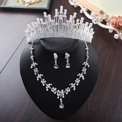 Bride Diaries New Design Crystal Pearl Bride 3pcs Set Necklace Earrings Tiara Bridal Wedding Jewelry Set Accessories (9)