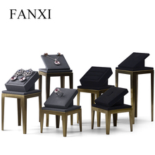 FANXI  New Metal Jewelry Display Stand Set Ring Necklace Bracelet Display Holder Shelf Black Leather Jewelry Organizer Showcase