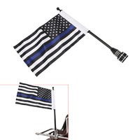 Motorcycle Black Mount Flag Pole Thin Blue Line USA Flag For Harley Davidson HD Dyna Fat