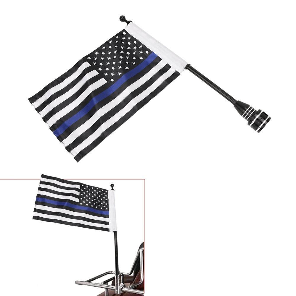 Motorcycle Black Mount Flag Pole + Thin Blue Line USA Flag For Harley Davidson HD Dyna Fat Bob Street Bob Super Glide #MBG02-B классический harley davidson hd холст скелет куртка 3 в 1 мужские 98415 10vm