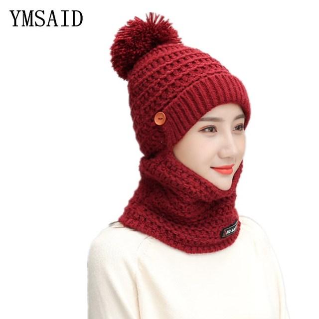 Ymsaid Balaclava Women Knitted Hat Scarf Cap Neck Warmer Mask Winter Hats  For Women Skullies Beanies Warm Fleece Cap c9254bb0520
