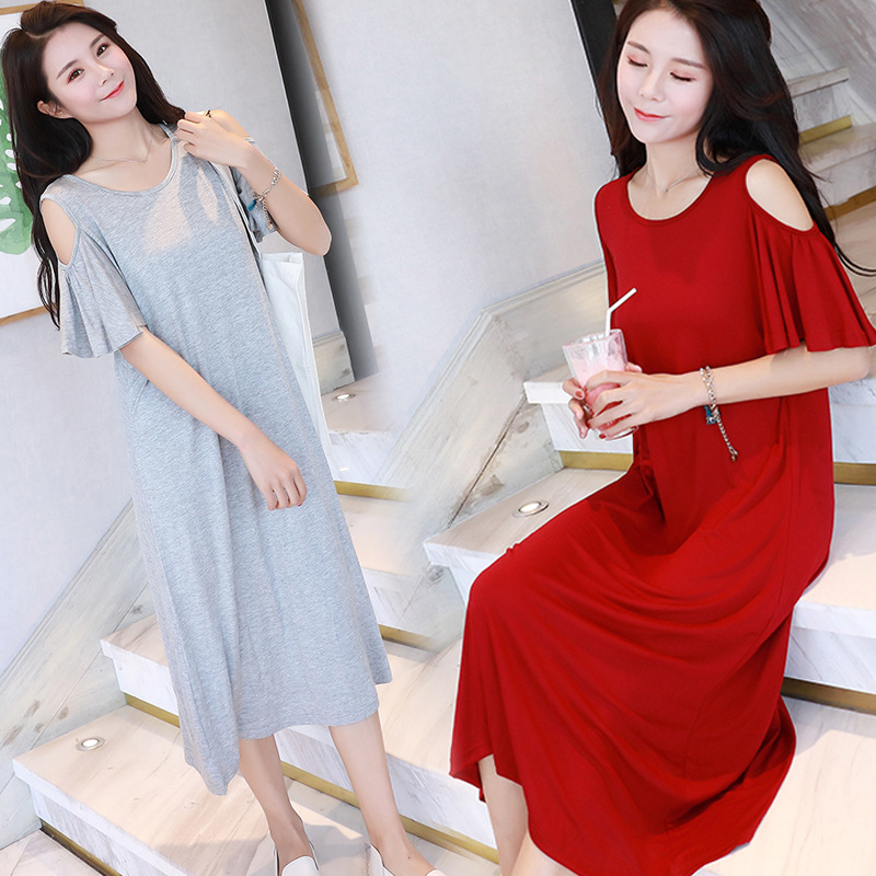 2018 summer leak shoulder women sleep dress loose modal Ruffle sleeve long sexy nightdress   nightgowns     sleepshirts   home clothes