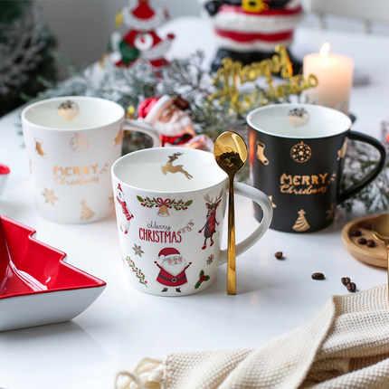 500 Ml Natal Lucu Keramik Sarapan Cangkir Kapasitas Besar Cangkir Kopi Santa Claus Cangkir Air Yang Indah Hadiah Gratis Pengiriman