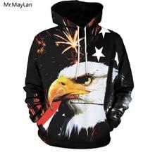"""""""Cool 3D Print"""" """"American Flag Eagle"""" apšvietimas """"Hiphop Hoodies"""" vyrams / moterims """"Hipster"""" kostiumai, sportiniai kostiumai, paltai, berniukai, striukės"""