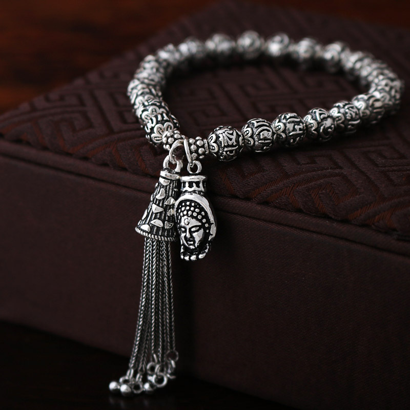 925 Sterling Silver Buddha Bracelet Women Guanyin Statue Charm Buddha Bead Bracelet for Women 2018 graceful multilayered pentagram charm bracelet for women