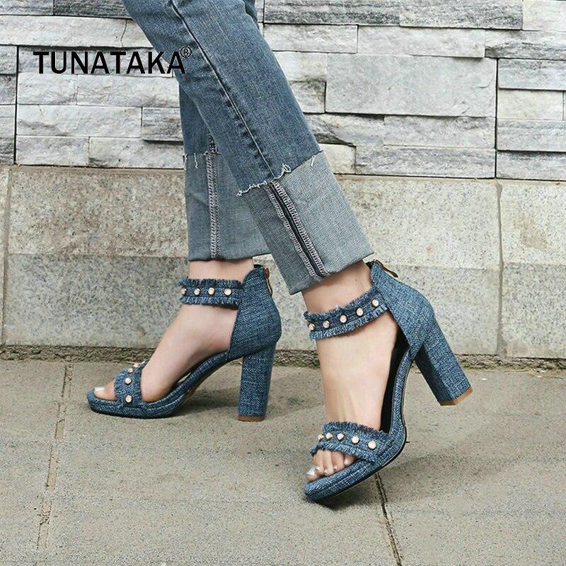 Denim Summer Square High Heel Open Toe Woman Sandals Fashion Zipper Dress Shoes Woman Blue Beige мультиварка philips hd4734 03 hd4734 03