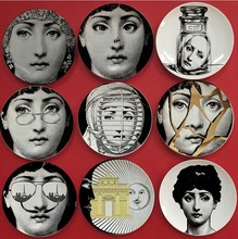 Fornasetti decorative hanging dish example room sitting adornment kitchen ceramic art disc plate