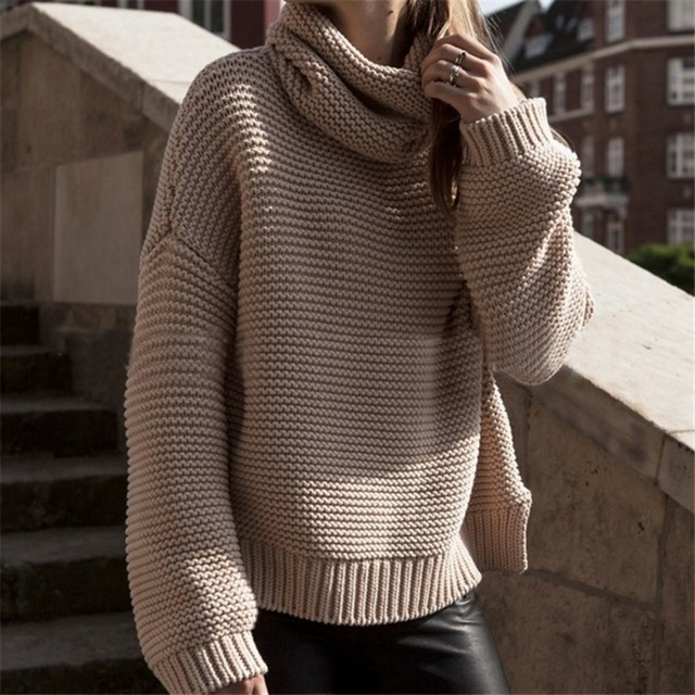 cbe0a804b3 2018 Autumn Winter Women Turtleneck Sweater Knitted Pullover Korean Female  Loose Oversized Sweaters Tops Jumper Green Knitwear