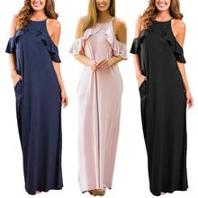 цена на Women's Cold Shoulder Ruffle Sleeve Shift Summer Dress Spaghetti Straps Side Split Casual Loose Beach Maxi Dresses S-XXL