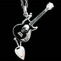 Punk rock imported 925 Sterling Silver Skull Necklace Pendant Pendant Silver Gibson guitar men women
