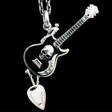 Punk rock importado 925 plata esterlina collar de cráneo colgante de plata guitarra Gibson hombres mujeres