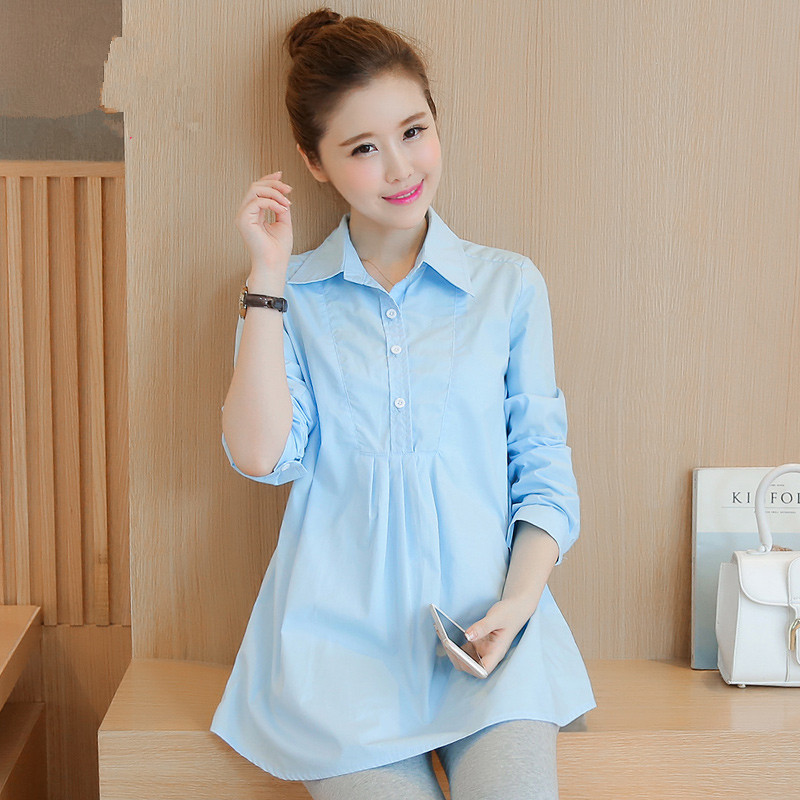 White/light Blue Cotton Maternity Blouses for Pregnant Women Long sleeved Spring Long Blouse Casual Pregnancy Mom Business Wear