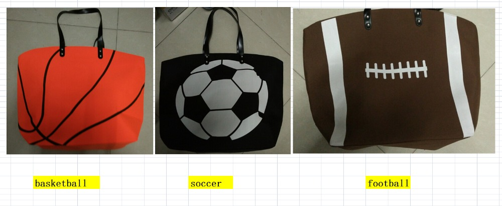 2017 soccer football basketball baseball New baseball Kids Cotton Canvas Sports Bags Baseball Softball Tote Bag