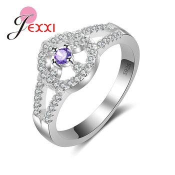 JEXXI Multicolor Full Rhinestone Ring For Women 925 Sterling Silver Jewelry Ring Antique New Arrival Rings Elegant Lady.