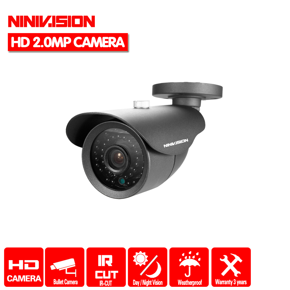 NINIVISION 2MP CCTV HD 1080P AHD-H Cámara 3000TVL exterior impermeable Metal negro bala IR cámara de vigilancia de seguridad