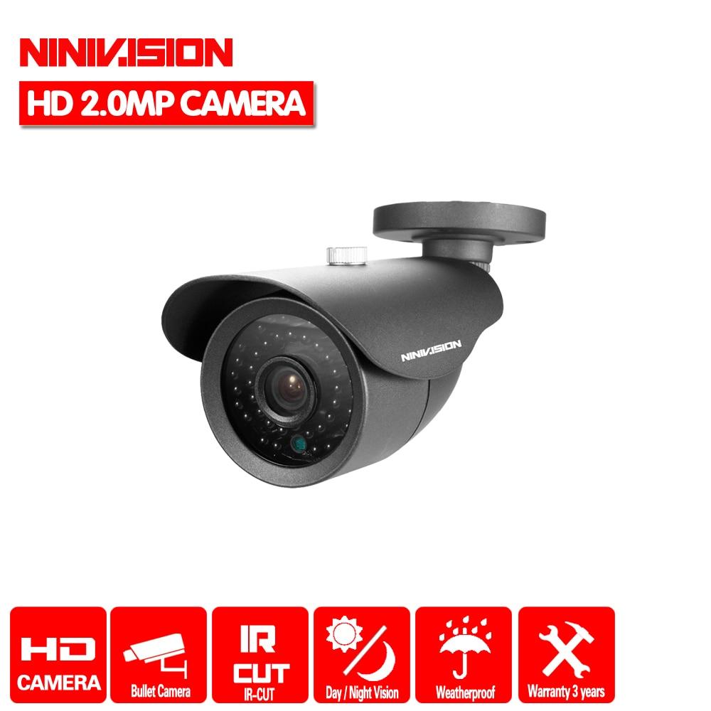 NINIVISION 2MP HD CCTV 1080P AHD -H Camera 3000TVL Outdoor Waterproof Metal Black Bullet IR Security Surveillance Camera