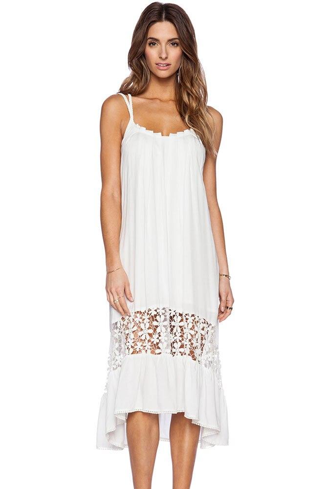 Summer Bohemian Style Dresses 2017 White Midi Jersey Hollow Out Dress Fashion Women Seaside
