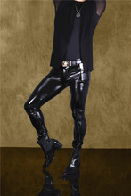 Shiny Skinny Faux Leather Pants for Men