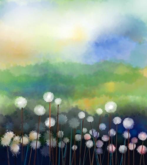 Minyak Lukisan Musim Semi Putih Dandelion Bunga Biru Hijau Kualitas