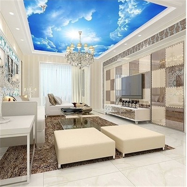 Beibehang Custom Behang Wit Cloud Sky Blauw en Wit Interieur Plafond ...