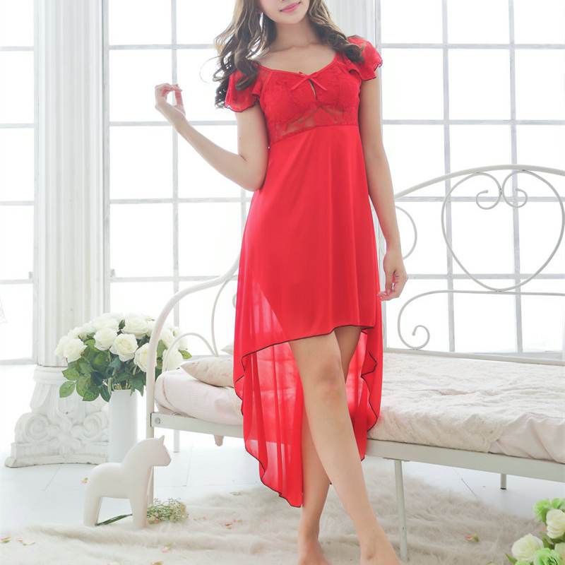 Lace   Nightgowns     Sleepshirts   Solid Sleepwear Sexy   Nightgown   2018 Hot Summer Female Soft Home Dress Vintage Cute
