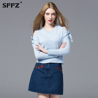 SFFZ Sky Blue knitted Pullover Sweater Women Bare Shoulder Butterfly Bow long Sleeve Casual Lady Sweaters Simple Cotton Tops