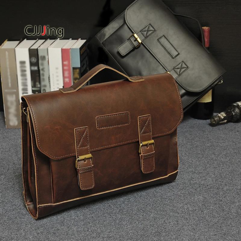 Men Office Business Handbags Shoulder Messenger Bags Vintage Style Crossbody Bag Mens Attache Case Briefcase Bag CJJJing